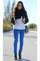 black H&M jacket - black BCBG jacket - black Aldo scarf - black Forever 21 bag