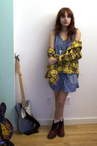 crimson Dr Martens boots - blue denim asos dress - gold flannel shirt