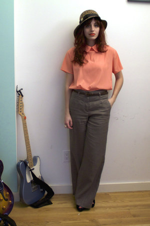 light orange American Apparel blouse - charcoal gray H&M pants - black wedges