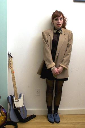 blue creepers asos shoes - black asos dress - tan vintage blazer