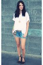 Navy-american-eagle-shorts-brown-walmart-wedges-white-bangkok-market-blouse-