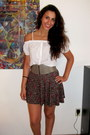 Top-floral-print-forever-21-skirt-zippered-forever-21-belt