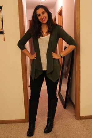 merona watch - knee high boots - jeans - chain necklace - cardigan - top