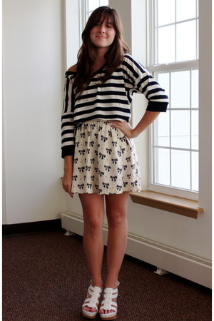 blue Threads shirt - white Cooperative skirt - white Steve Madden shoes