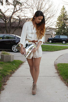 silver H&M bag - scalloped H&M shorts - lita Jeffrey Campbell heels - silk thrif