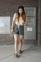 lounge H&M shorts - DKNY shirt - suede H&M bag - Birkenstock sandals