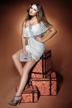 lace dress - light gray DKNY purse