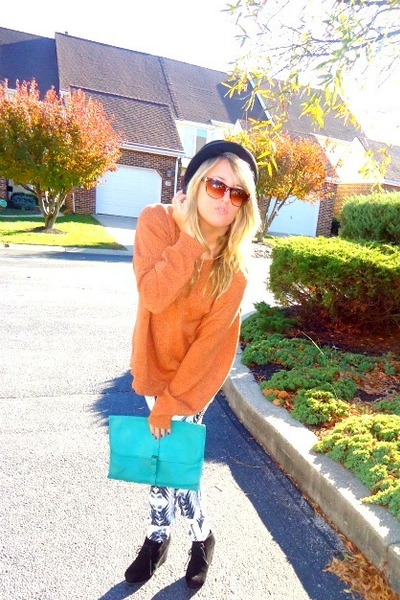orange thrifted sweater - black Forever21 shoes - turquoise blue vintage bag