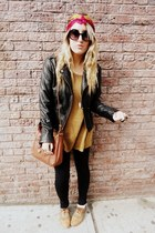 black leather Forever21 jacket - bronze H&M sweater - black leggings - hot pink