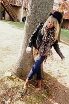 navy Forever21 jeans - black Forever21 jacket - dark brown H&M scarf - tawny thr