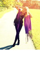 purple scarf - black Forever21 pants - black H&M shirt