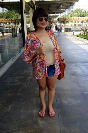 expo bag - blue DIY shorts - orange DIY blouse - crimson Babu glasses