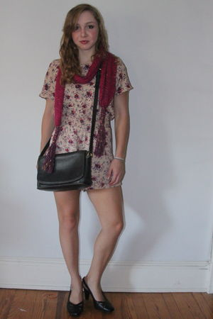pink Forever21 dress - black coach bag - black shoes - pink Lucky Brand scarf