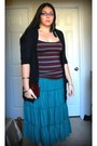 Teal-tiered-maxi-forever-21-skirt-brick-red-faux-croco-forever21-wallet