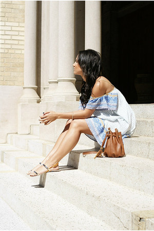 light blue free people dress - bronze bucket Steve Madden bag