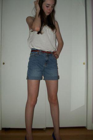 white Old Navy shirt - blue diys shorts - red vintage belt - purple vintage shoe