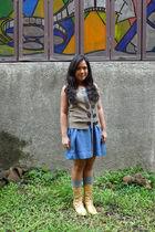 See by Chloe vest - Mango dress - Ebay socks - thrifted boots