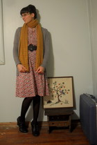 gold scarf - heather gray cardigan - pink dress - black belt - black tights - bl