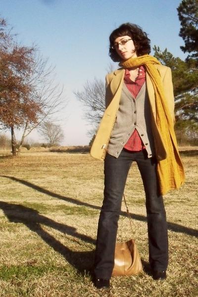 camel blazer - heather gray delias cardigan - red shirt - mustard scarf - dark g