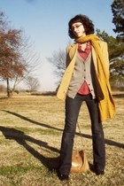 camel blazer - heather gray delias cardigan - red shirt - mustard scarf - dark g