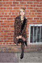 gold sequins Ark&Co dress - brown leopard Pixie Market coat
