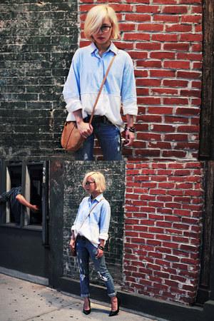 blue distressed Forever 21 jeans - light blue two tone denim Pixie Market shirt