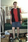 Red-mossimo-shirt-black-old-navy-vest-blue-faded-glory-skirt