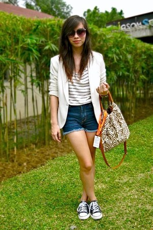 sm department store blazer - Forever 21 shorts - H&M glasses