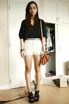 cotton on bag - vintage shorts - Bazaar blouse - Shop Like Amanda wedges - H&M b