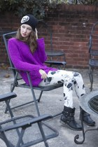purple slouchy H&M sweater - black combat Mia boots - Smart Set hat