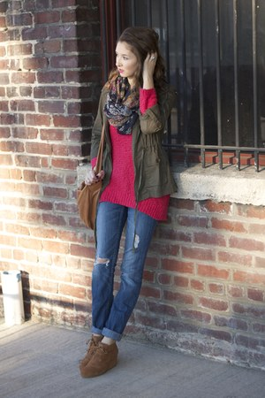 patterned scarf TJ Maxx scarf - wedges TOMS shoes - Express jeans