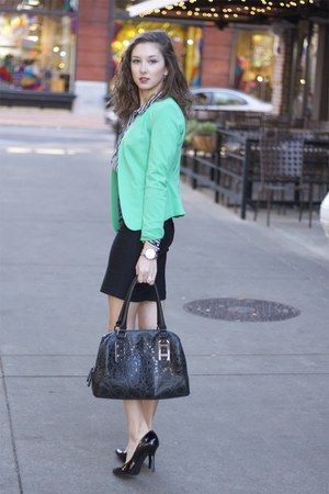 green blazer H&M blazer - TJ Maxx shoes - Aldo purse