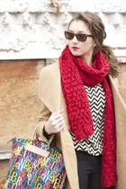 Michael by Michael Kors coat - everly dress - Indigo scarf - Dooney & Bourke bag