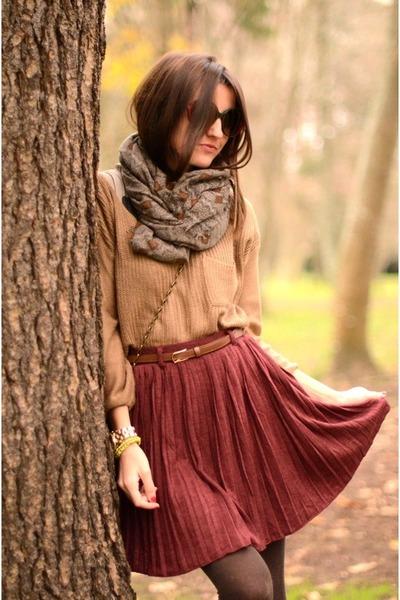 brick red skirt - camel shirt - olive green scarf - sunglasses