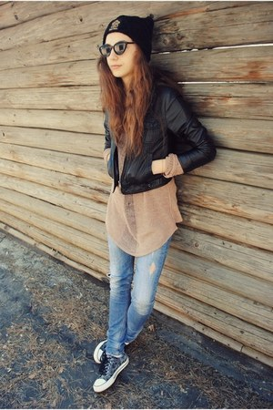 black the leftbank hat - black Zara jacket - black jacket - black sunglasses