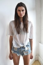 denim shorts - white blouse