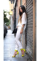 white shirt - bag - white pants - yellow heels