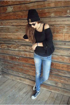 jeans - the leftbank hat - sunglasses - sneakers - blouse