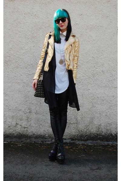 neutral neutral jacket - boots - black bag - leather pants - necklace