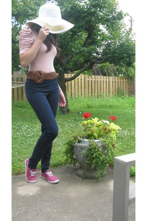 pink Forever 21 shirt - blue H&M jeans - pink Keds shoes - brown Costa Blanca be