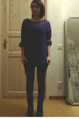 heather gray Cheap Monday jeans - deep purple Monki sweater - black Din Sko shoe