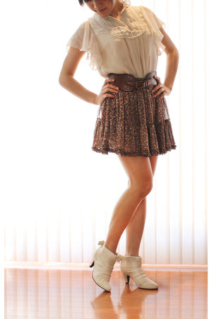 beige blouse - brown skirt - brown Anthropologie belt - white sugarplumshoes sho