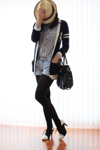 blue preppy ingni cardigan - black sugarplumshoes shoes - denim H&M shorts