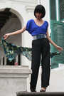 Blue-forever-21-top-black-zara-pants-green-scarf