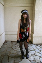 dark brown military Forever 21 boots - black altered floral dress - black polka