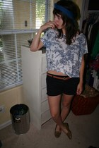 blue cropped Forever 21 shirt - black cut-off Dickies shorts - navy scarf-headba