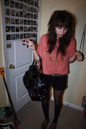 salmon sweater - black Dickies shorts - Target tights - stockings - Forever 21 b
