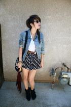 black bowtie heels Forever 21 boots - blue jean Old Navy jacket - black aztec pr