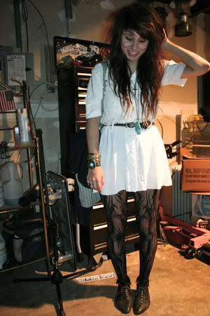black lace-up thrifted boots - white western thrifted dress - black patterned Ta