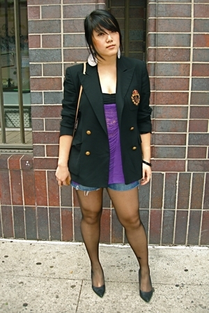Ralph Lauren blazer - shredded top - a&amp;f shorts - cbanner shoes